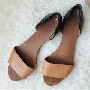 Madewell Tan and Black Leather Sandals   Sz 9.5